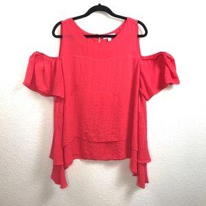 Boutique Tops - Boutique Brand Cold Shoulder Poppy Color Top Sz 1X